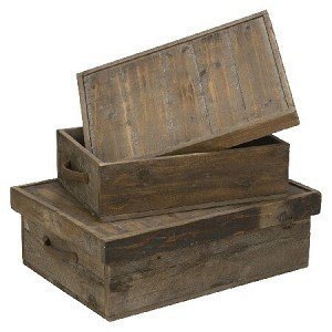 Reclaimed Wood Organizer Boxes - Set of 2