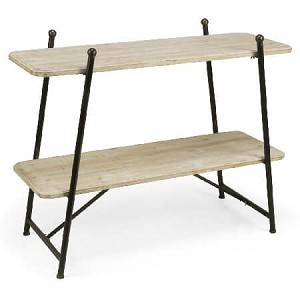 Wooden 2-Tiered Flat Shelf Display Rack