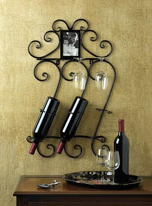 Wrought Iron Wall Wine Display Metal Wine Rack Unique